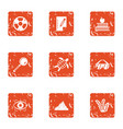 global knowledge icons set grunge style vector image