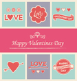 happy valentines day icons logos text set vector image