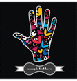 hearts and flowers on the handprint vector image