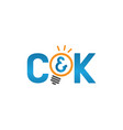 initial letters ck with bulb shape vector image vector image