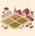 isometric farm elements vector image vector image