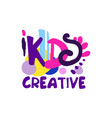 kids creative colorful logo design hand drawn vector image vector image
