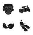 mask movie camera and other web icon in black vector image vector image