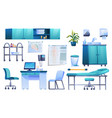 medical office furniture set isolated icons vector image