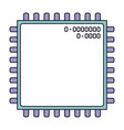 microchip closeup icon in color section silhouette vector image vector image