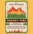 nature protection forest fire fighting vector image vector image