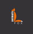 orange fox in figure letter l animal logo zoo vector image