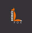 Orange Fox in the figure letter L animal logo zoo vector image vector image