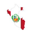 peru country silhouette with flag on background vector image vector image