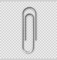 realistic metal paper clip isolated on transparent vector image