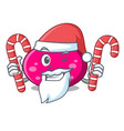 santa with candy ellipse mascot cartoon style vector image vector image