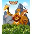 Scene with many wild animals in the park vector image vector image