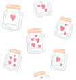 seamless pattern - glass bottles with cute hearts vector image