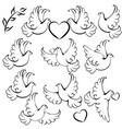 set dove silhouettes with hearts for design vector image
