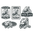 set of logos truck repair vector image