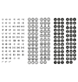 Simple minimal black and white pixel smiles set vector image vector image