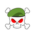 skull in beret military emblem army cap and head vector image vector image
