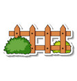 sticker template with wooden fence and bush vector image