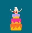 striptease girl from cake congratulation vector image vector image