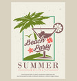 summer beach party retro poster design vector image vector image