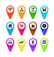 travel symbols map pins set vector image vector image