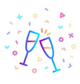 two glasses champagne surrounded festive vector image