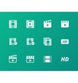 Video icons on green background vector image