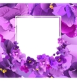 Violet floral frame for greeting card vector image