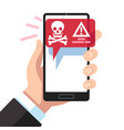 virus notification on smartphone screen dangerous vector image