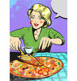 woman eating pizza with emotion pop art comic vector image