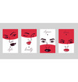 woman face set cards banners vector image vector image