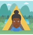 Woman lying in camping tent vector image