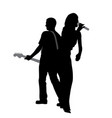 woman singer and man guitar player vector image vector image