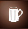 wooden beer mug icon isolated on brown background vector image