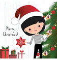 Young woman decorating the christmas tree vector image