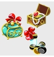 Open treasure chest and closed casket of Princess vector image