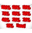 3d percentage set 10 to 100 vector image