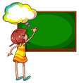 A girl writing at the blackboard vector image vector image