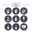 beer coffee and tea icons alcohol drinks vector image