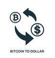 bitcoin to dollar icon mobile app printing web vector image vector image