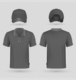 black baseball cap and male polo t-shirt realistic vector image