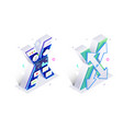 blue 3d isometric letter x made with virtual vector image vector image