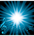 blue music background with notes and flash vector image vector image