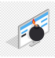 bomb and computer monitor isometric icon vector image vector image