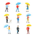 cartoon characters people holding umbrella set vector image vector image