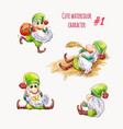cartoon green elf or gnome christmas character vector image