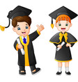 cartoon happy kid in graduation costume vector image vector image
