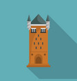 castle tower icon flat style vector image vector image