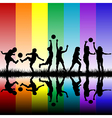 Children silhouettes playing on rainbow background vector image vector image