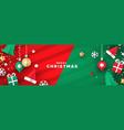 christmas banner papercut holiday ornaments vector image